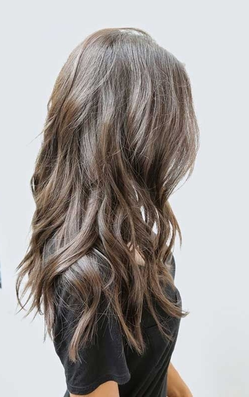 Dark Ash Brown Hair With Long Waves And Layers | Long Wavy Layered Inside Brown And Dark Blonde Layers Hairstyles (Gallery 5 of 25)