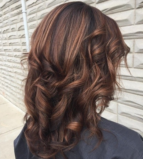 Dark Brown Hair Styles With Highlights And Lowlights Regarding Light Copper Hairstyles With Blonde Babylights (Gallery 19 of 25)