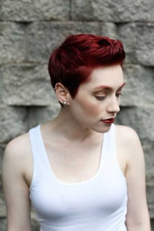 Dark Red Pixie | Hairstyles | Pinterest | Red Pixie, Dark Red And Pixies Inside Most Recent Ravishing Red Pixie Hairstyles (Gallery 3 of 25)