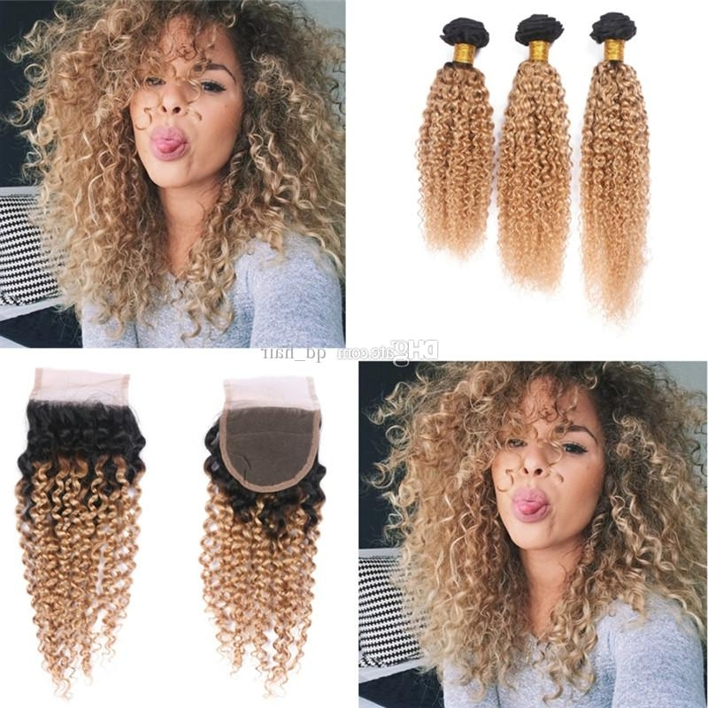Dark Roots Ombre 1B 27 Hair Weft With Closure 4X4 Honey Blonde 1B 27 Throughout Brown To Blonde Ombre Curls Hairstyles (View 17 of 25)