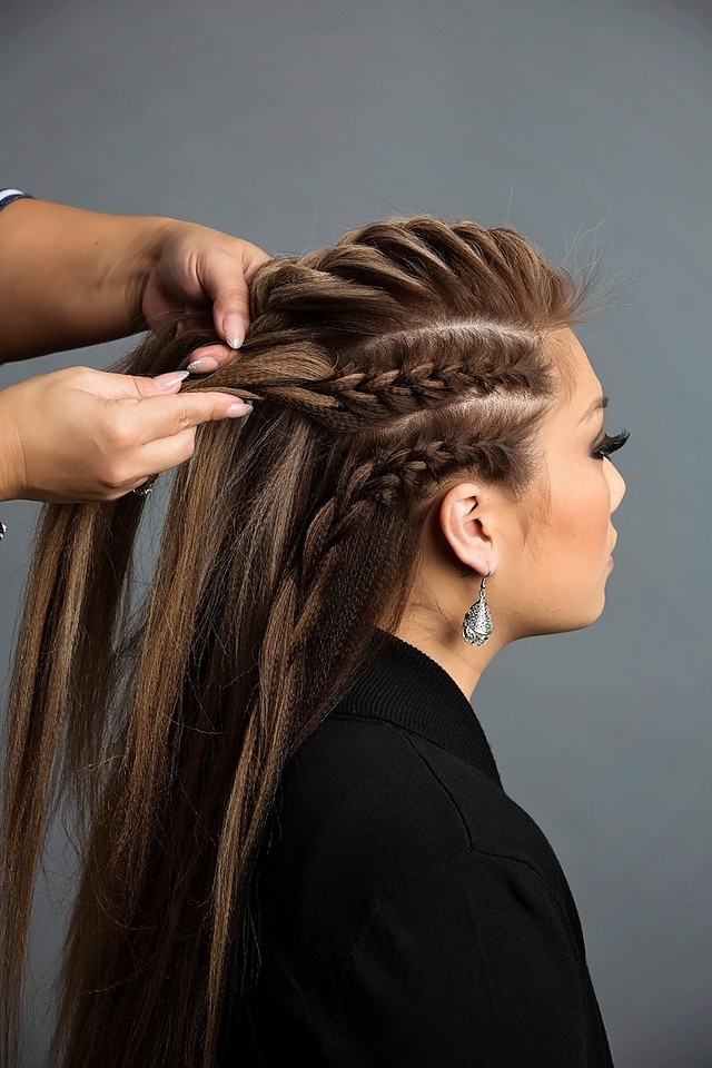 Day To Night Hairstyle | Mohawk Braid Into Fishtail Bun Throughout Undone Fishtail Mohawk Hairstyles (View 15 of 25)
