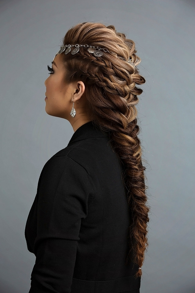 Day To Night Hairstyle | Mohawk Braid Into Fishtail Bun With Regard To Undone Fishtail Mohawk Hairstyles (Gallery 24 of 25)