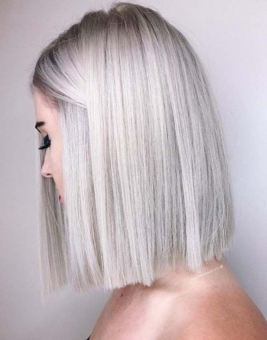 Died Length Hair, Silver Hair, Straight Cut Bob, | Hairstyles I Love Within Silver Blonde Straight Hairstyles (View 15 of 25)