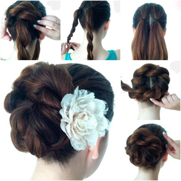 Diy Twist Double Rope Bun Updo Hairstyle Within Double Floating Braid Hairstyles (Gallery 9 of 25)