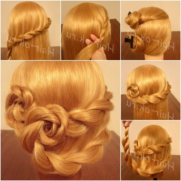 Diy Updo Lace Braid Rose Hairstyle Intended For Double Floating Braid Hairstyles (Gallery 18 of 25)