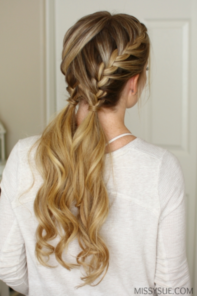 Double French Braid Ponytail - Hairstyle throughout French Braids Pony Hairstyles