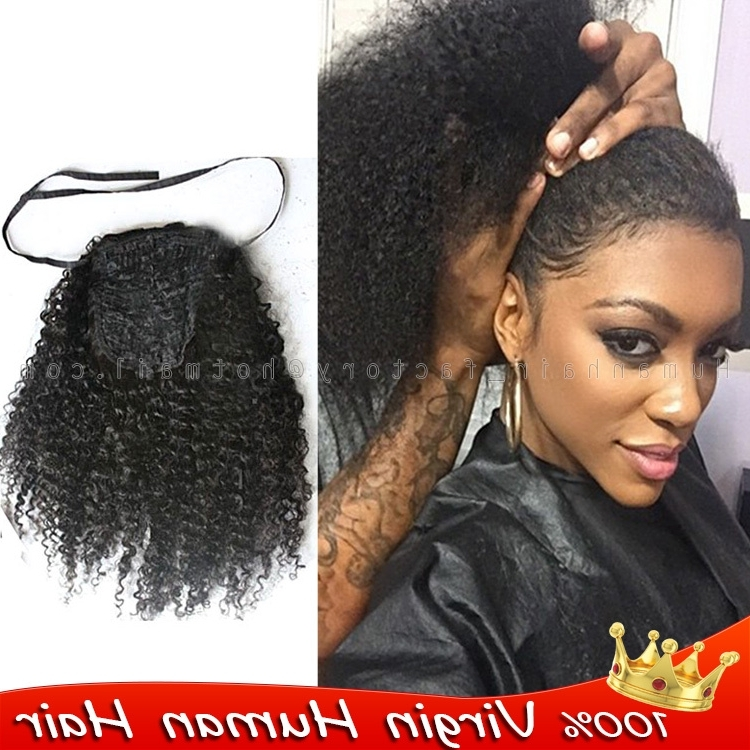 Drawstring Ponytail Afro Kinky Curly Ponytail 100% Human Real Hair With Regard To Curly Blonde Ponytail Hairstyles With Weave (Gallery 13 of 25)