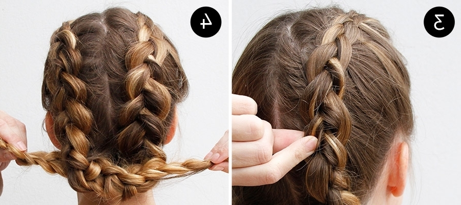 Dutch Braid Hairstyle Easy Two Dutch Braids Make One Easy Updo More Inside Two Braids In One Hairstyles (Gallery 19 of 25)