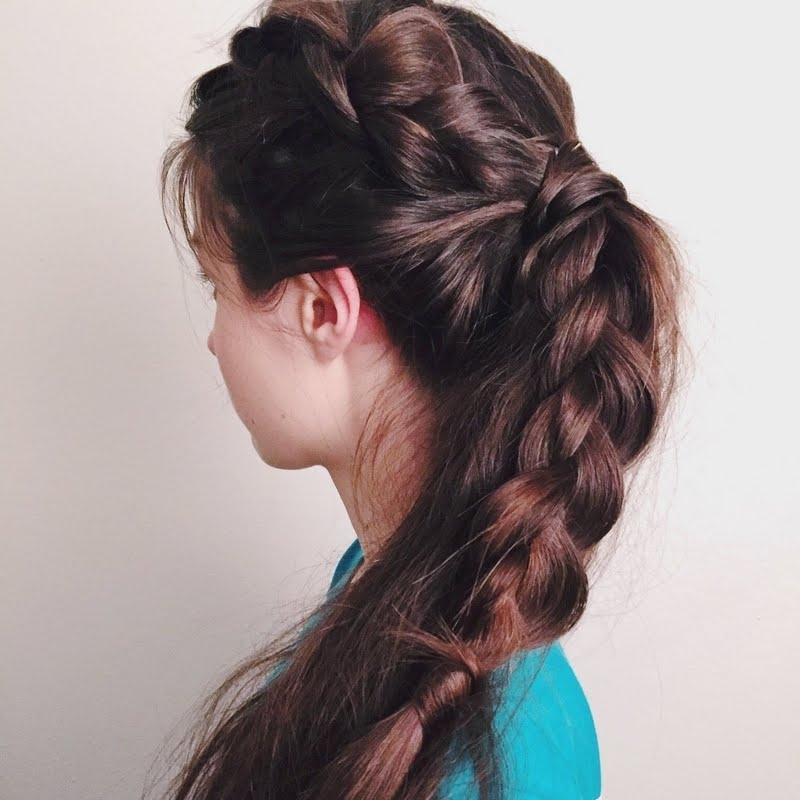 Dutch Braid Into A Messy Ponytailashley W | Preen in Messy Ponytail Hairstyles With Side Dutch Braid