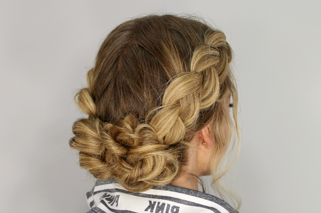 Dutch-Braided Up-Do 2018 regarding Messy Ponytail Hairstyles With A Dutch Braid