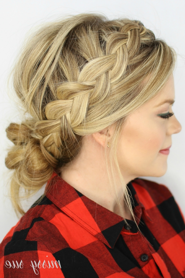 Dutch Braids And Low Messy Bun | Hairstyles | Pinterest | Low Messy With Regard To Messy Ponytail Hairstyles With Side Dutch Braid (Gallery 5 of 25)