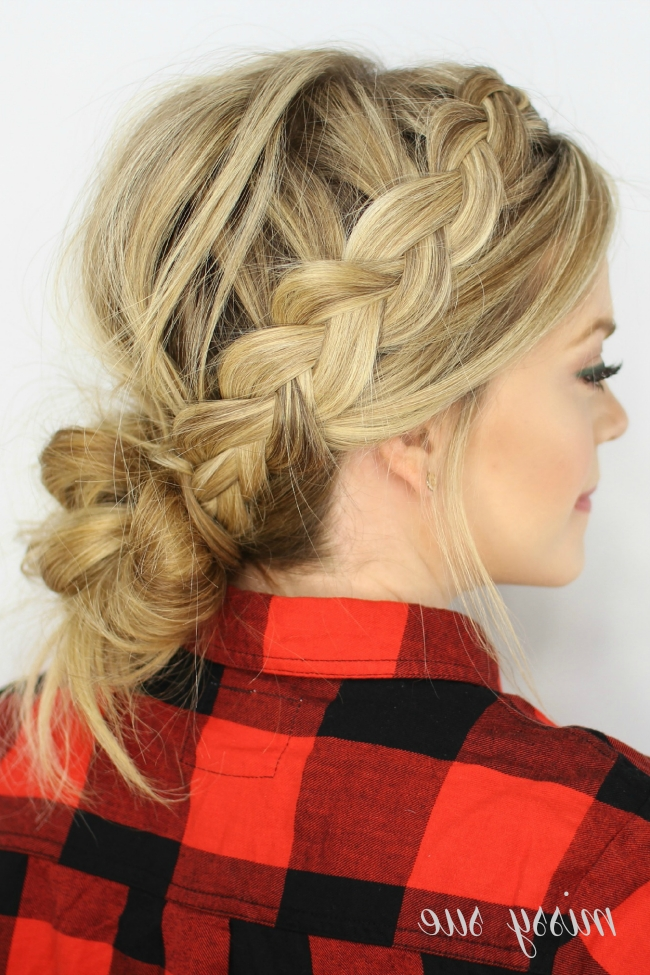 Dutch Braids And Low Messy Bun in Messy Ponytail Hairstyles With Side Dutch Braid