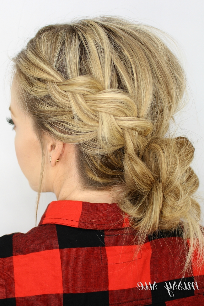 Dutch Braids And Low Messy Bun Regarding Messy Ponytail Hairstyles With Side Dutch Braid (View 8 of 25)