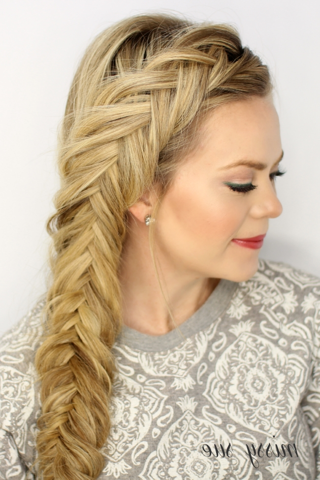 Dutch Fishtail Braid Pertaining To Side Pony Hairstyles With Fishbraids And Long Bangs (Gallery 23 of 25)