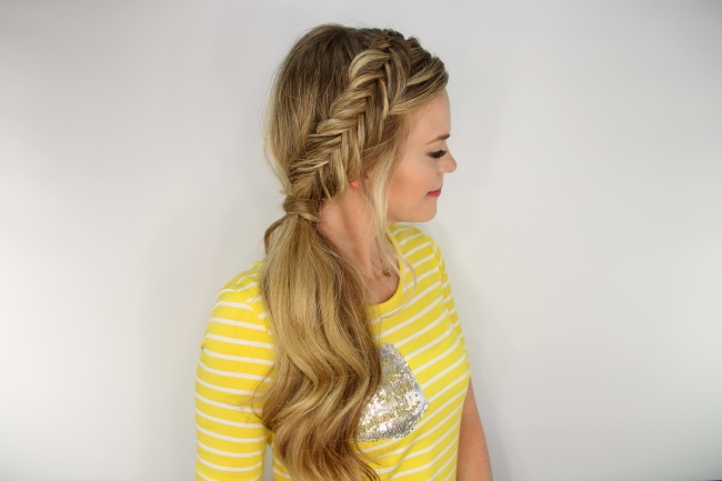 Dutch Fishtail Side Pony Intended For Side Pony Hairstyles With Fishbraids And Long Bangs (Gallery 7 of 25)