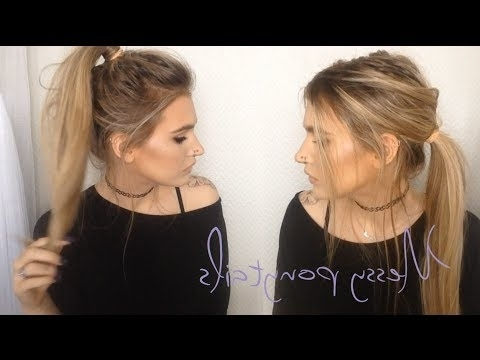 ? Messy Ponytails | 2 In 1 Hair Tutorial ? – Youtube In Messy Pony Hairstyles For Medium Hair With Bangs (View 13 of 25)