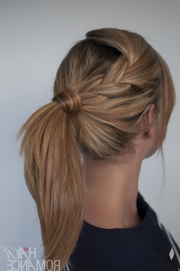 Easy Braided Ponytail Hairstyle How To – Hair Romance Inside Pony Hairstyles With Wrap Around Braid For Short Hair (View 3 of 25)