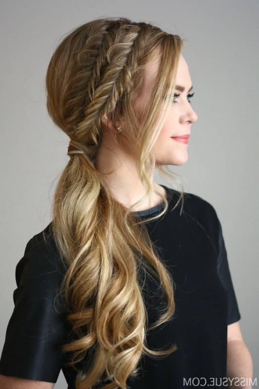 Easy Diy Double Fishtail Side Ponytail – Styleoholic Regarding Braided Side Ponytail Hairstyles (View 16 of 25)