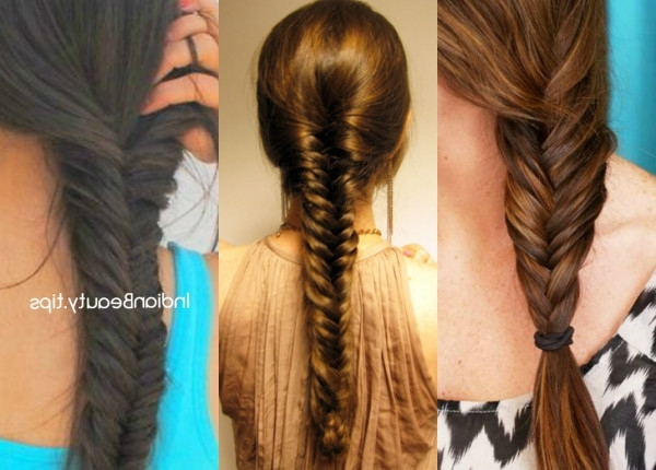 Easy Fishtail Braid Hairstyle Tutorial – Indian Beauty Tips Intended For Wispy Fishtail Hairstyles (View 11 of 25)
