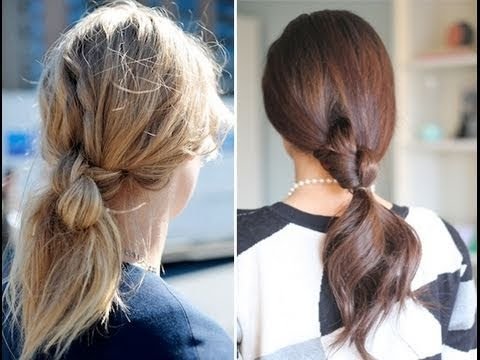 Easy Knotted Ponytail – Youtube Within Braided And Knotted Ponytail Hairstyles (View 11 of 25)