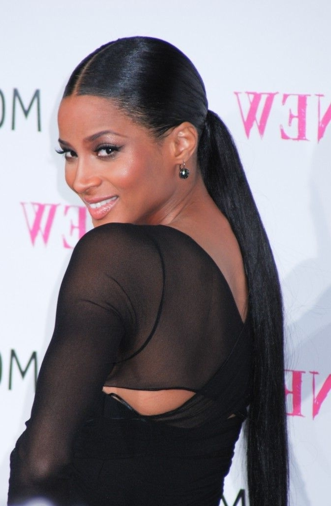 Easy Updos | Hair & Makeup | Pinterest | Ponytail, Black Girls And Pertaining To Low Black Ponytail Hairstyles With Bangs (View 9 of 25)