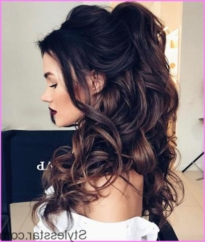 Elegant Prom Half Updo Hairstyle Curly Hair Tutorial | Stylesstar ® Regarding Formal Half Ponytail Hairstyles (View 14 of 25)