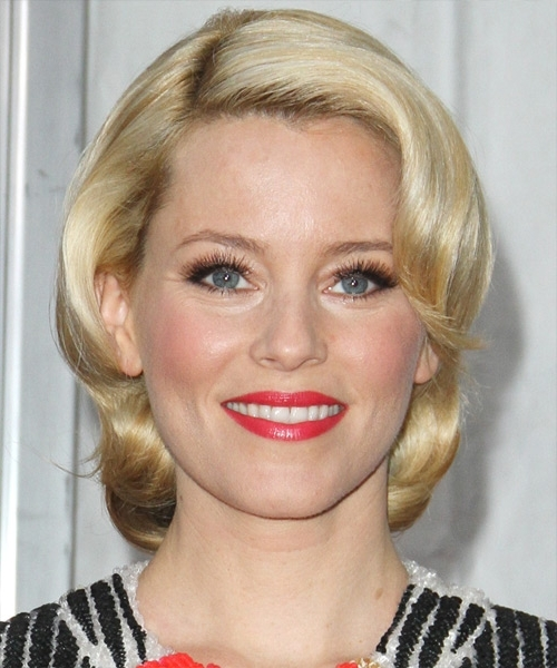 Elizabeth Banks Short Wavy Casual Layered Bob Hairstyle With Side Within Casual And Classic Blonde Hairstyles (View 15 of 25)