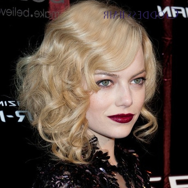 Emma Stone Medium Waves Curly Hairstyles 27# Human Hair Blonde Curly In White Blonde Curls Hairstyles (View 16 of 25)