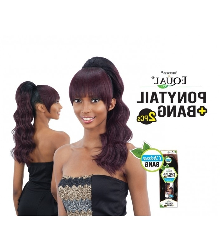 Equal Loose Deep Ponytail & China Bang 2Pcs Regarding Pineapple Pony Hairstyles With Whirl Bangs (View 10 of 25)
