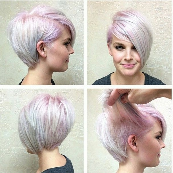 Fashion Colour On The Roots Of A Platinum Base Really Makes This Within Latest Lavender Pixie Bob Hairstyles (View 15 of 25)