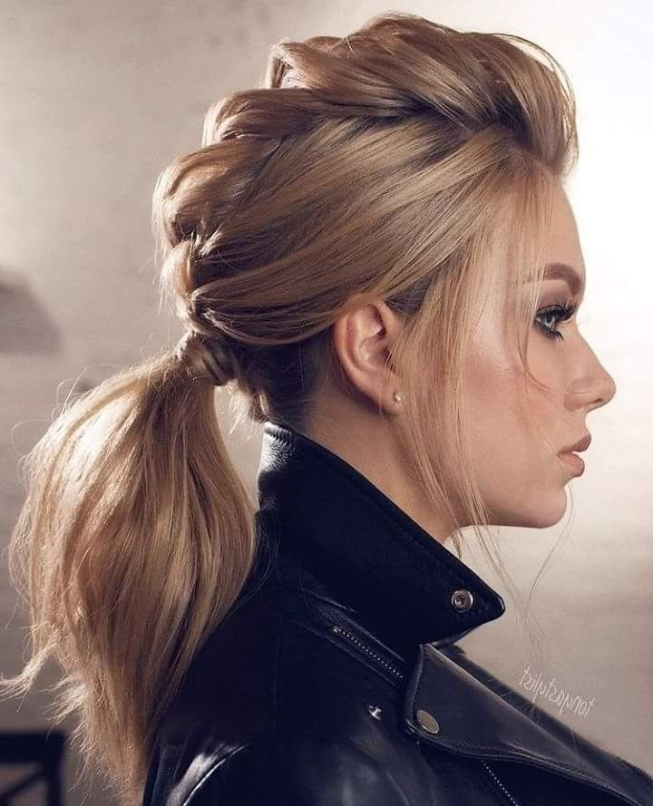 Faux Hawk Ponytail | Hair | Pinterest | Faux Hawk, Ponytail And Hair For Two Tone High Ponytail Hairstyles With A Fauxhawk (View 2 of 25)