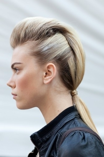 Faux Hawks At Clover Canyon – 10 Cool Fall Fashion Week Hair… Within Fauxhawk Ponytail Hairstyles (View 14 of 25)