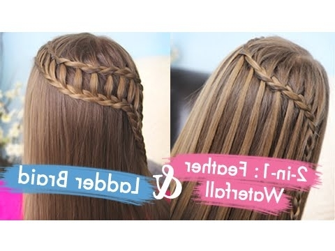 Feather Waterfall & Ladder Braid Combo | Cute 2 In 1 Hairstyles Inside Ladder Braid Side Ponytail Hairstyles (View 16 of 25)