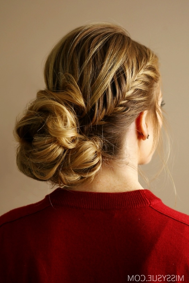 Fishtail Accent Braid Updo | Missy Sue Pertaining To Pony Hairstyles With Accent Braids (View 6 of 25)