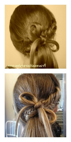Fishtail Braid Bow Ponytail Hairstyle Tutorial – Hairstyles For Throughout Bow Braid Ponytail Hairstyles (View 14 of 25)