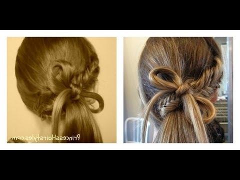 Fishtail Braid Bow Ponytail Hairstyle – Youtube Inside Bow Braid Ponytail Hairstyles (View 13 of 25)