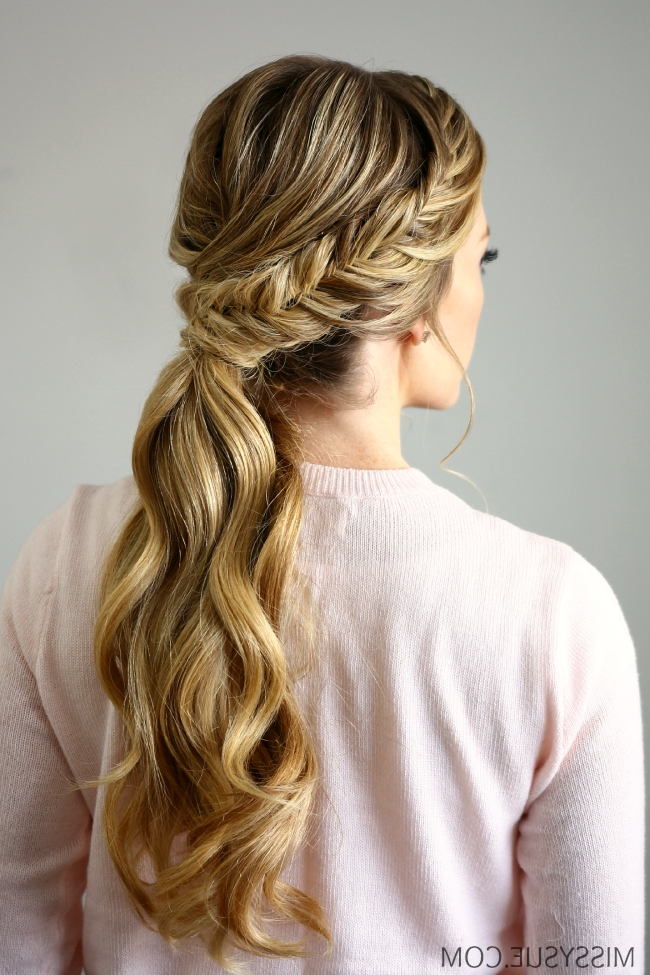Fishtail Embellished Ponytail Regarding Pony Hairstyles With Wrap Around Braid For Short Hair (View 6 of 25)