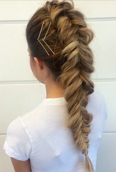 Fishtail French Braid + Bobbypin Accents | Hair + Makeup | Pinterest In Undone Fishtail Mohawk Hairstyles (View 19 of 25)