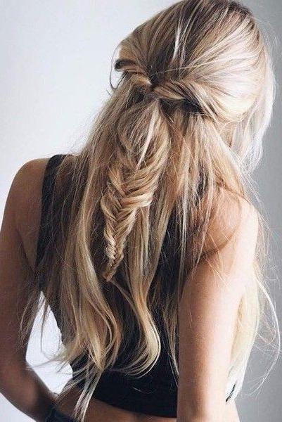 Fishtail Twist Half Ponytail | Hair | Pinterest | Half Ponytail Pertaining To Honey Blonde Fishtail Look Ponytail Hairstyles (View 2 of 25)