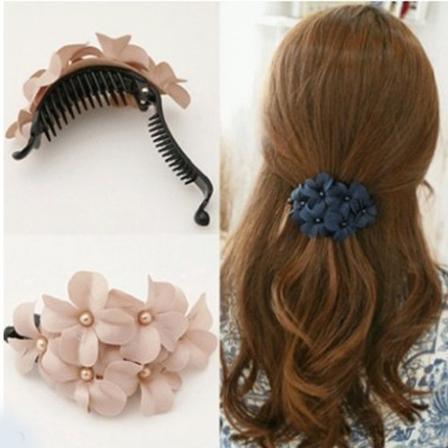 Flower Crab Hair Clips Trendy Claws Ponytail Elegant Hair Ornaments Inside Classy Flower Studded Pony Hairstyles (View 20 of 25)