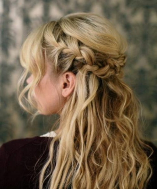 French Braid Half Up Bun Bohemian Messy Half Updo 2016 Simple For Messy Half Ponytail Hairstyles (View 17 of 25)