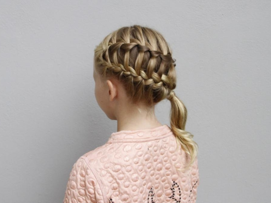 French Braid Side Ponytail Diagonal Ladder Braid Into Side Pony In Ladder Braid Side Ponytail Hairstyles (View 24 of 25)