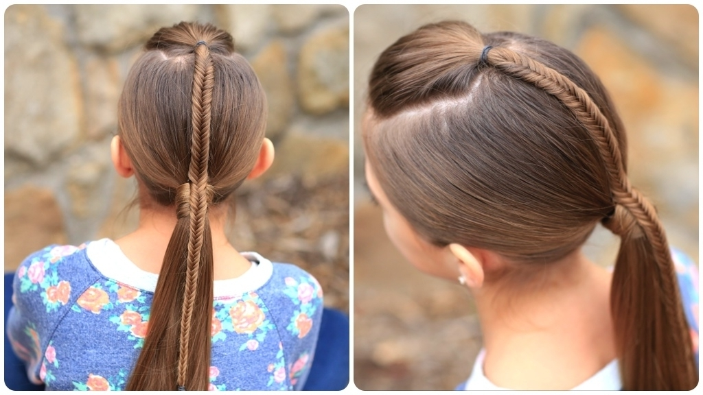 French Hairstyle Dailymotion Fishtail Accented Ponytail Hairstyles Pertaining To Pony Hairstyles With Accent Braids (View 2 of 25)
