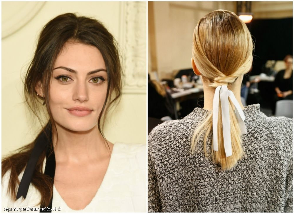 From Runway To Red Carpet: A High Fashion Ponytail With Ribbon Within High And Tousled Pony Hairstyles (View 16 of 25)