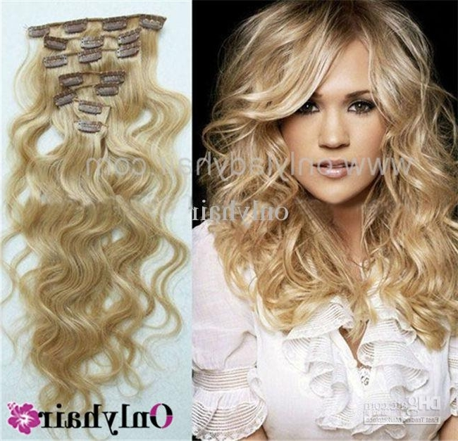 Full Head Thickest 120G Clip In Blonde Human Hair Extension Body In Amber Waves Blonde Hairstyles (View 20 of 25)