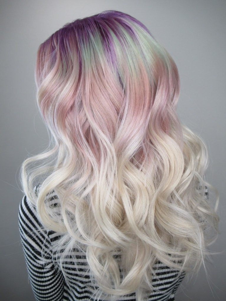 """Gem Roots"""" Are A Crystal Inspired Take On The Rainbow Roots Trend Throughout Root Fade Into Blonde Hairstyles (Gallery 15 of 25)"""