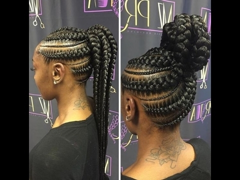 Ghana Braids Ponytail : Hottest Trends For Ghana Braids – Youtube With Regard To High Ponytail Hairstyles With Jumbo Cornrows (View 19 of 25)