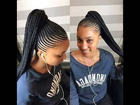 Ghana Braids Ponytail Styles : Braids All Back, Updo For Ladies Intended For Cornrows Hairstyles For Long Ponytail (View 13 of 25)