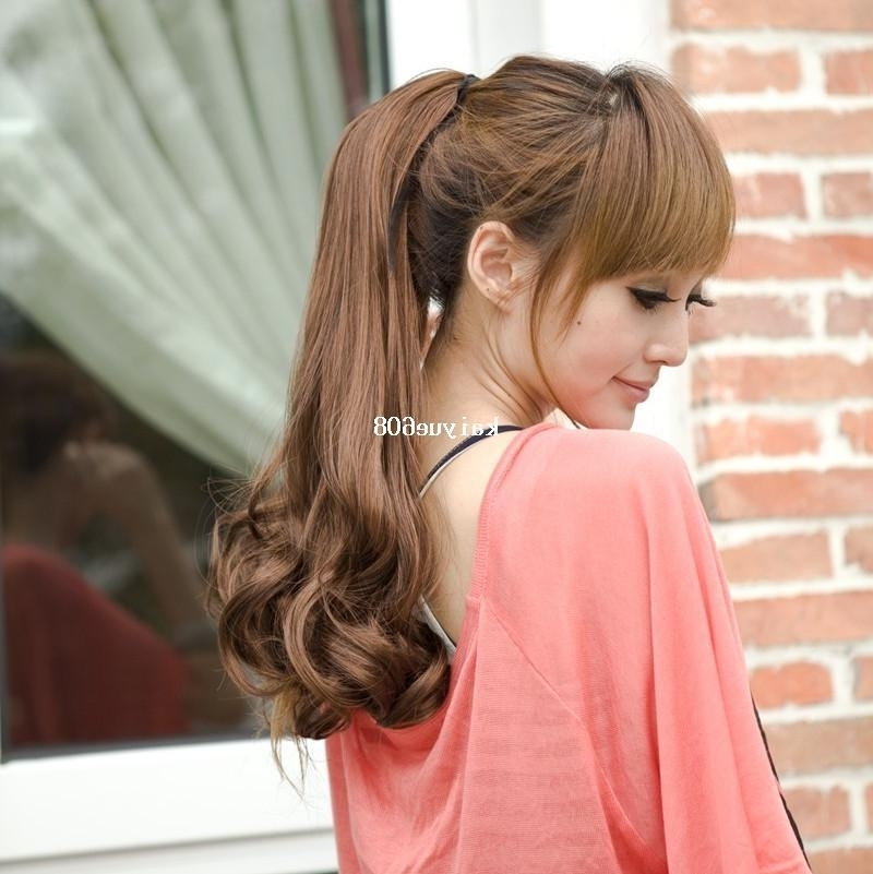 Girls Tied Wig Hair Style Long Hair Ponytail Wig High Temperature Within High Ponytail Hairstyles With Long Golden Coils (Gallery 15 of 25)