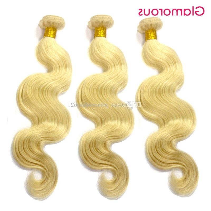 Glamorous Brazilian Body Wave Hair Double Wefts #613 Bleach Blonde in Glamorous Silver Blonde Waves Hairstyles